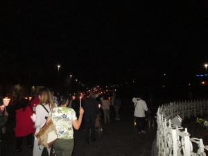 Procession by candlelight.