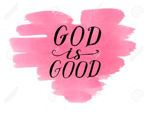 Hand lettering God is good on watercolor heart.